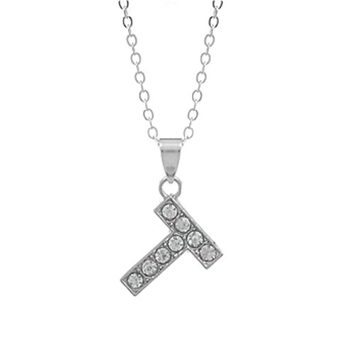 Rhinestone Charms Necklace with Eyelet, Letter T