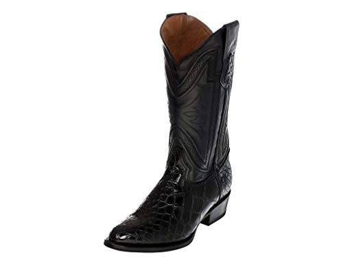 Ferrini Western Boots Mens Genuine Alligator 10.5 EE Black 10711-27