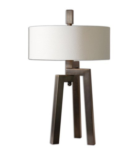 (Table Lamps 2 Light with Hand Forged Metal Antiqued Plated Brushed Bronze Gold Undertones Metal Fabric 30 inch 120 Watts)