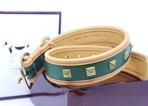 "COACH Pyramid Stud Leather Collar with Engraveable Charm 60193 Limited Edition - Sage Green, X-Small (8.5""-10.5"")"