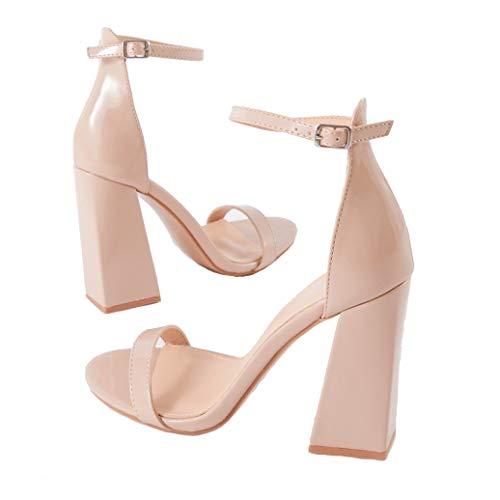 Public Desire Womens Tess Block Heels Faux Suede Shoes Nude Patent US 7 (UK 5 / EU 38) from Public Desire