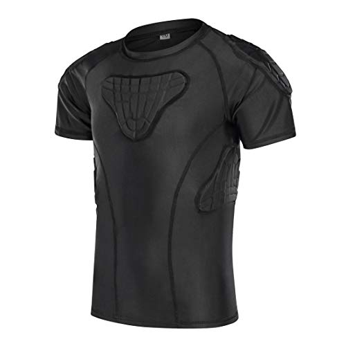 TUOY Youth Boys Padded Compression Shirts Shorts Rib Chest Protector Protective Sports Workout Safety T-Shirts for Football Paintball Baseball