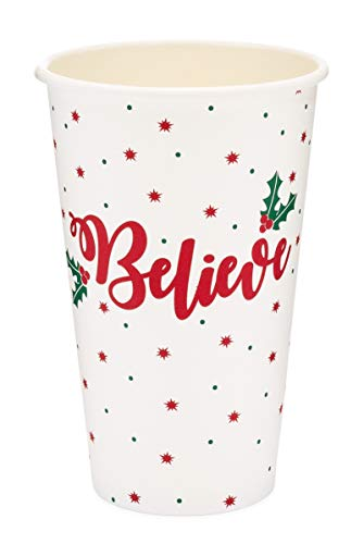 Greenhouse Compostables, Believe Paper Cups, 50 ct, 16oz - 100% Compostable, Red with Green Holly, Disposable Christmas Holiday Party Drinkware ()