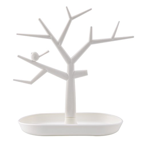 5 Travel Valet Tray - ChezMax Tree Design Jewelry Display Tower Necklace Earring Bracelet Holder Organizer Stand, White