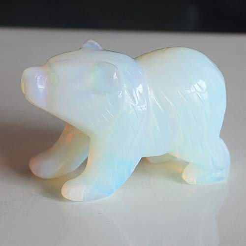 Bear Carving - 2'' Hand Carved White opalite Bear Figurine Animal Carving