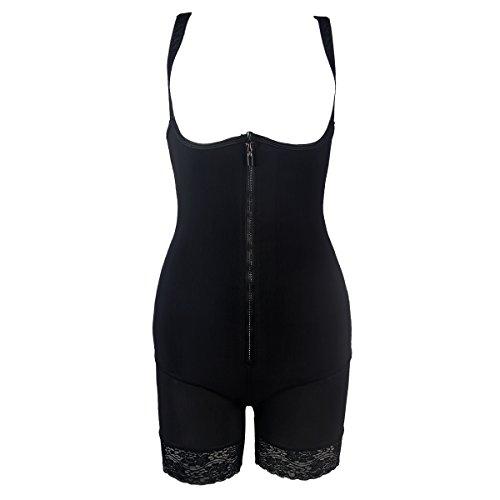 BSLINGERIE Women Workout Training Slimming Body Shaperwear Bodysuit (XL, Hip - See Through)