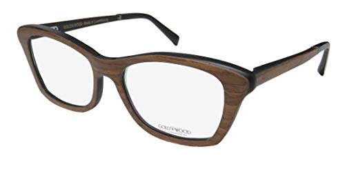Gold & Wood Electra 03-B For Ladies/Women Cat Eye Full-Rim Shape Wood Flexible Hinges Fabulous High-end Eyes Eyeglasses/Spectacles (52-16-140, Brown/Black/Chocolate) (52 16 140 Brille)