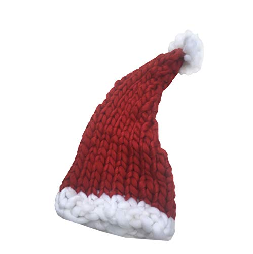 OuSunTa Christmas Hat Warm Thick Slouchy Knit Hat Handmade Long Tail Knitted Santa Hat (Child Red)