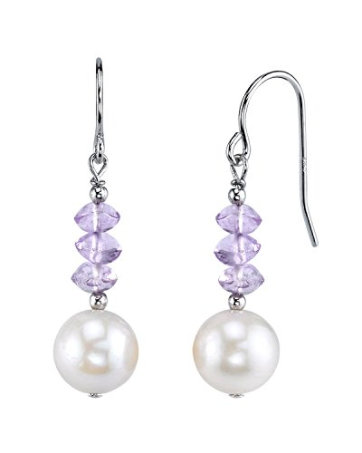 8mm White Freshwater Cultured Pearl & Amethyst Earrings - Amethyst Pearl Jewelry