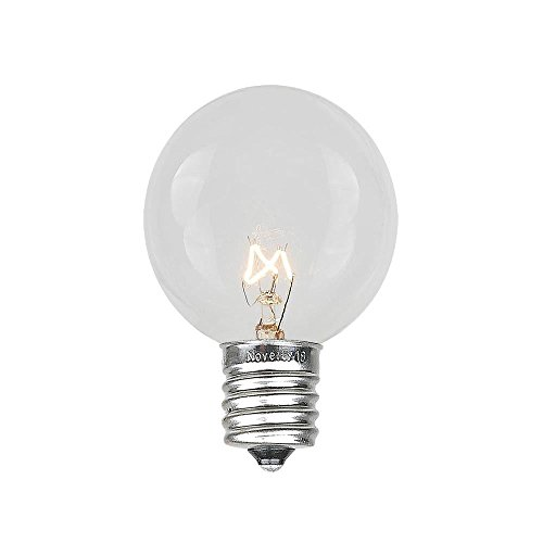 Novelty Lights 25 Pack G30 Outdoor Globe Replacement Bulbs, Clear, C7/E12 Candelabra Base, 5 Watt