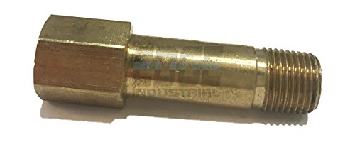 "EDGE INDUSTRIAL Brass 1/8"" Long Extension Adapter, 1-3/4"" Long, D.O.T. Approved"