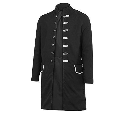 ANJUNIE Casual Jacket Men's Print Coat Tailcoat Gothic Frock Coat Uniform Costume Praty Outwear(Black,L) ()