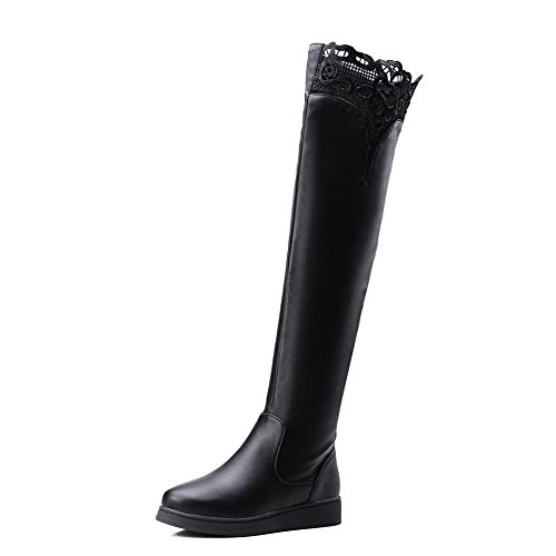 nero Toe Heel Solid Lace Boots Agoolar Women Mini Round Up 35AR4jLq