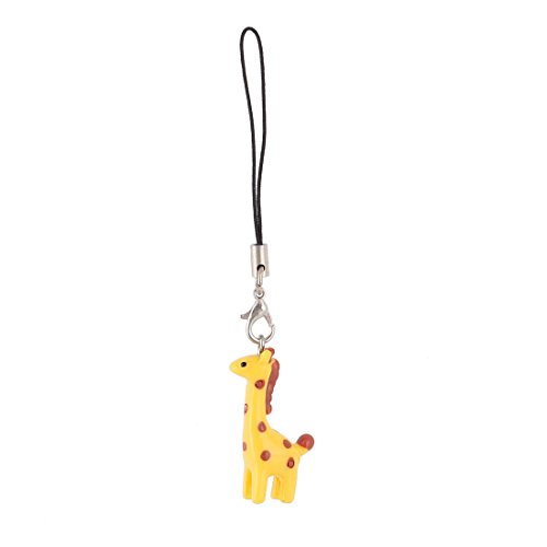 Giraffe Pendant Cell Phone Backpack Strap Red Spots Yellow