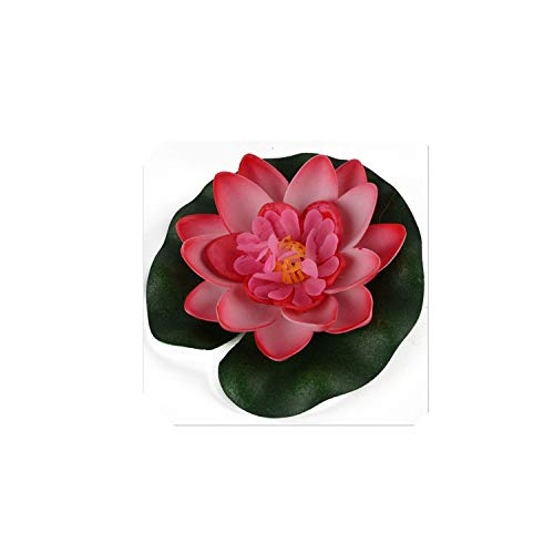 Artificial Flowers for Fish Tank Pond Water Lily Lotus Aquarium Home Decoration 1Pc Floating Artificial Lotus Ornament Decor,Red ()
