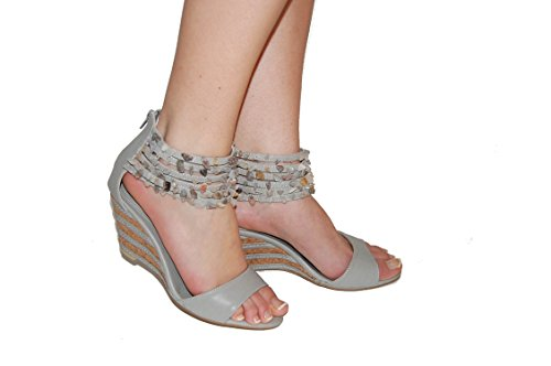 Sandales compensées femme perles chevilles - 41, Gris