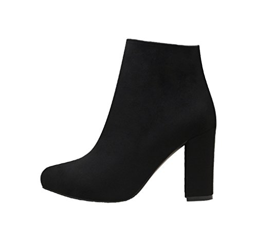 à daim Solide des mode courtes bottes ZSSHJ Mince couleur Confortable 34 Sexy en talons doux l'usure Noir Martin Rough bottes avec JAZS® résistant bottes à Noir sexy Couleur hauts taille AwxxUnq1