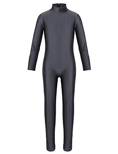 YiZYiF Kids Little Girls Boys Spandex Long Sleeve Full Body Unitard Skin Tight Dance Costumes Dark Gray 5-6 -