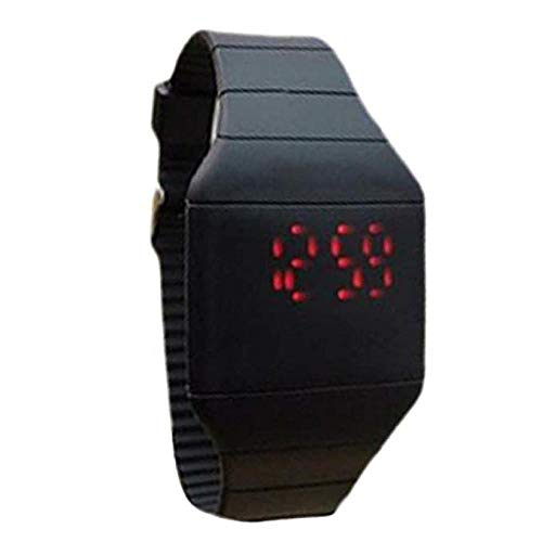 - FAVOT Unisex Sports Watch Color Silicone Ultra-Thin Square Led Touch Single Button Children's Electronic Watch (Black)