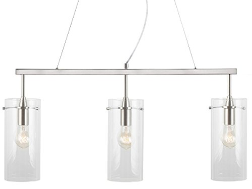 Linea Di Liara Effimero Three Light Hanging Island Pendant Linear Fixture Brushed Nickel With Large Clear Glass Cylinder Shades LL P335 BN