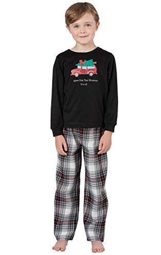 PajamaGram Personalized Christmas Pajamas Boys - Boy Flannel Pajama, Black, 14 -