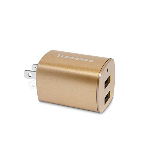 Tranesca Dual USB Travel Wall Charger with Foldable Plug for iPhone SE/6/6s,iPhone 5s/5, iPad Air/Pro/Mini and More (UL and FCC Certified- 100% Truly Marked)-Golden (Ipad Charger Champagne)