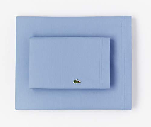 Lacoste 100% Cotton Percale Sheet Set, Solid, Allure Blue, Queen (Celebrity Bed Sheets)