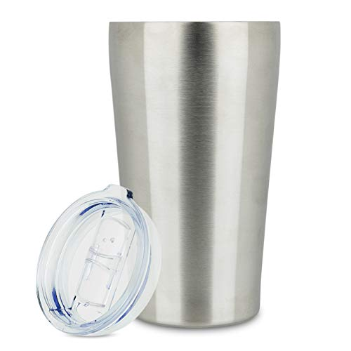 Steel Coffee Mugs Travel (16oz Tumbler Vacuum Insulated Stainless Steel Coffee Cup with Lid - Travel Mug Works Great for Ice Drink, Hot Beverage (1 pack, 16 oz Stainless steel))