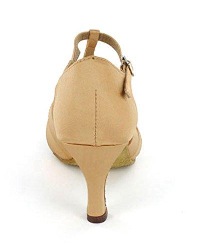 Salsa T Women's Ballroom Bronze Shoes Comfortable Dance Tango TDA Strap Knot Satin Latin Sandals BzBTnxq