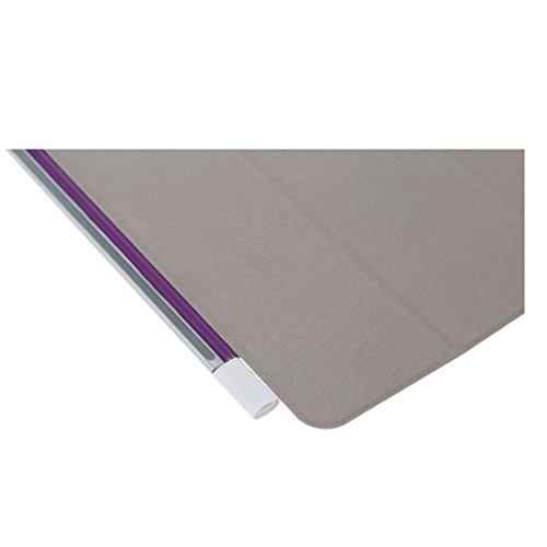 SODIAL(R) Cubierta caja inteligente delgada soporte cuero PU magnetico para Apple iPad Mini Tablet Dormir/ Despertar (Gris claro) Purpura