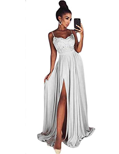 LUBridal Women Sexy Spaghetti Strap V Neck Slit Prom Dresses 2018 Long Chiffon Formal Party Gowns Silver ()