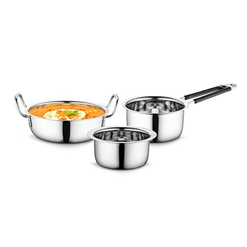 Profusion Stainless Steel Cookware 3 pcs Set – (Silver, Tope- 0.8 Litre, Karahi- 1.5 Litre, Sauce Pan- 0.9 Litre)