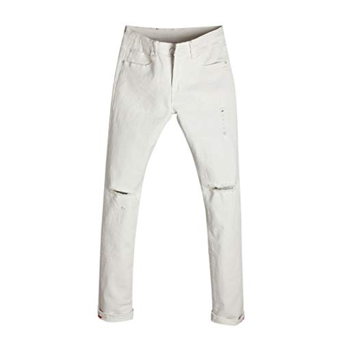 Allywit Men's Skinny Jeans Fashion Teen Boys Stretch Slim Fit Ripped Destroyed Distressed Denim Jeans Pants Big and Tall White by Allywit-Pants (Image #8)