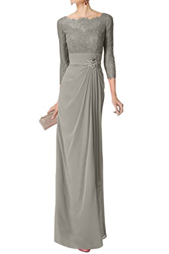 Bride Sleeveless Dress (Avril Dress Glamorous Mother Of Bride Gown Long Sleeveless Empire Lace Party Dress-8-Grey)