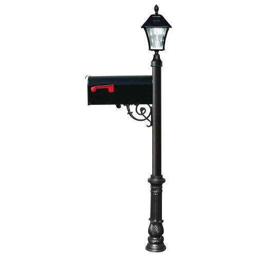 Lewiston Mailbox with Post (Ornate Base and Solar Lamp) Color: Black -