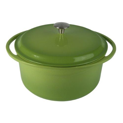 Artland La Maison Cast Iron Round Casserole Dish, 7.4-Quart, Green