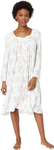 Eileen West Women's Petite Modal Waltz Nightgown White Rose Bouquet Medium Petite (Nightgown Pintucked)