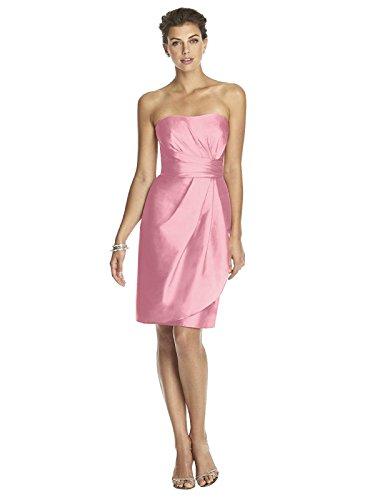 Dessy Women's Cocktail Length Strapless Peau De Soie Dress with Draped Detail - Twirl - Size 10