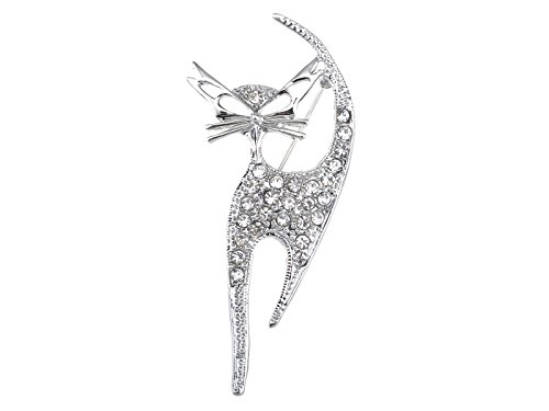 Kitten Pin Brooch - Alilang Silvery Tone Clear Crystal Colored Rhinestones Cat Kitten Cut Out Brooch Pin
