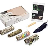 Lulli Ritual Sage Smudge Kit - Pack of 4 Smudge Sticks for Cleansing Negative Energy with Feather, Palo Santo & Guide…
