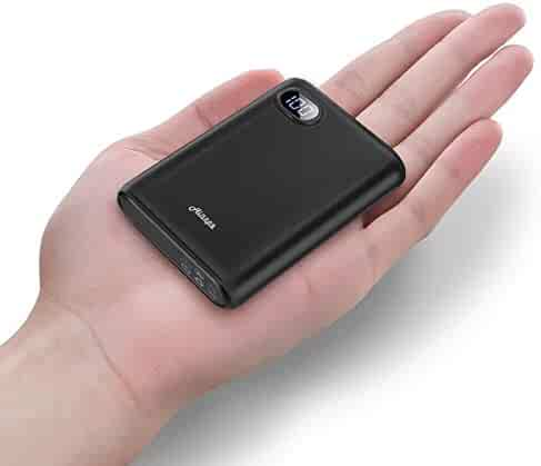 Ainope 10000mAh Portable Charger,(Smallest) (LCD Display) (Powerful) External Battery Pack/Battery Charger/Phone Backup Power Bank with Dual USB Output(3.1A),Perfect Carry for Travel-Black