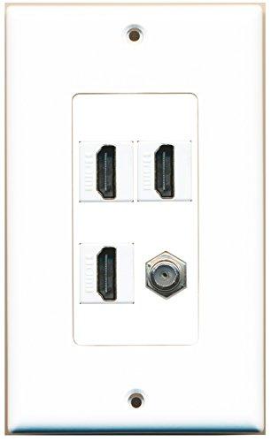 RiteAV - 3 Port HDMI 1 Port Coax Cable TV- F-Type Wall Plate Decora ()