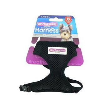 (12 Pack) Ancol Comfort Mesh Dog Harness Black XSmall