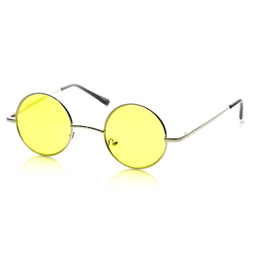 MLC EYEWEAR Small Metal Round Circle Color Tint Lennon Style Sunglasses (Silver, Yellow)