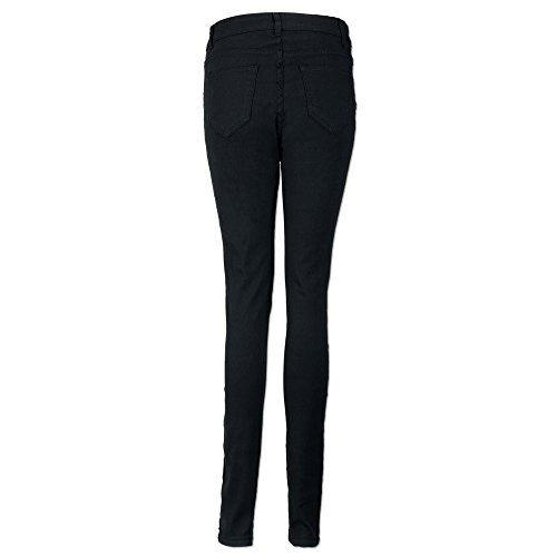 Jeans Basic Taille Trou Jeans Motifs Femme Pantalon SANFASHION en Floraux Noir2 Brod Denim Haut ZxPHwTf7