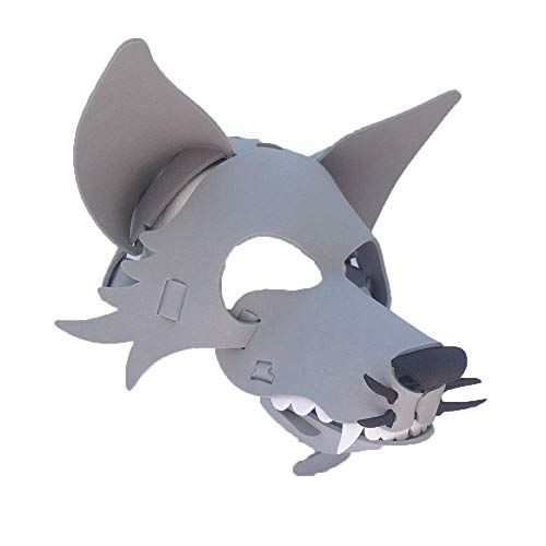 Wolf Mask with Elastic Great for Halloween, Sporting Events, Having Fun - One Size Fits Adults & Children - Gray & Black -