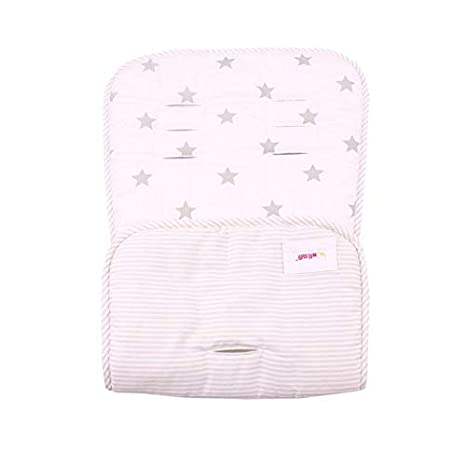 Soft /& Reversible Baby Pure Cotton Stroller Car Seat Liner Pram Insert Portable Changing Pad Universal Cover Pushchair Size 32x80 cm Infant Cushion Pad White Gray Cross