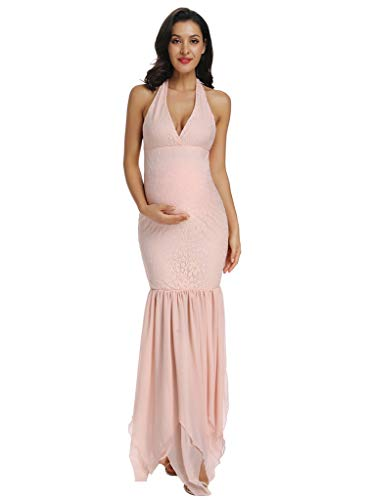 Lace Maternity Dress Halter Top Fitted Maternity Mermaid Gown for Bridesmaid Wedding Baby Shower Photo Shoot (L, Pink)