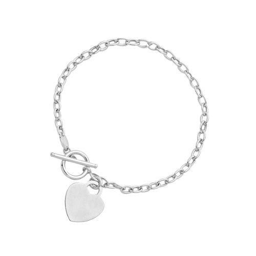 Diamond Toggle Bracelet - Mia Diamonds Toggle Bracelet with Heart Charm in 14k White Gold