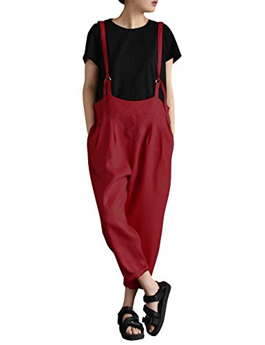 Yeokou Women's Linen Wide Leg Jumpsuit Rompers Overalls Harem Pants Plus Size (Small, Style15Red)